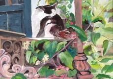 Kat i grønt ved Quedens gård